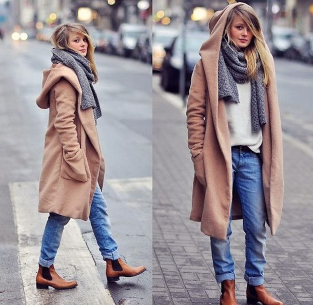 Coat Clothes Winter Coat Winter Outfits Beige Scarf Chelsea Boots Wheretoget