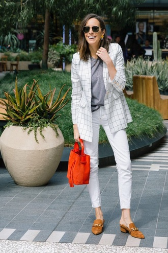 jacket blazer white blazer pants white pants top grey top shoes suede shoes sunglasses bag red bag