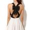 New party dress women sexy criss cross back hollow bowknot pleated chiffon dress   ebay