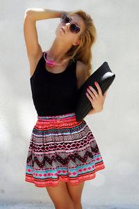H&M Aztec Print Mini Skater Skirt Bloggers Fav Size 14 | eBay