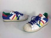 shoes,adidas,multicolors,sneakers,skateboard,street,adidas shoes,adidas superstars,hippie,tumblr,colorful,indie,colorblock,vintage,90s style,multicolor