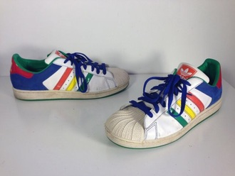 shoes adidas multicolors sneakers skateboard street adidas shoes adidas superstars hippie tumblr colorful indie colorblock vintage 90s style multicolor