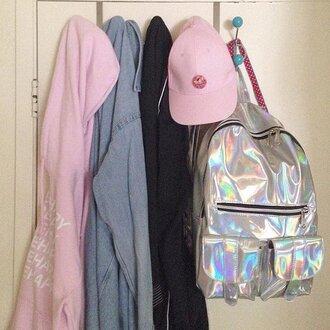 bag holographic cute tumblr shiny laser laser bag laser backpack cool geek backpack girlie girly women korean style holographic bag
