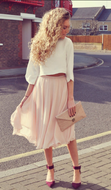 shirt skirt midi pleated flowy fashion girly