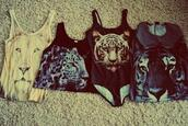 swimwear,t-shirt,shirt,tiger,lion,black,animal face print,tank top,tiger face