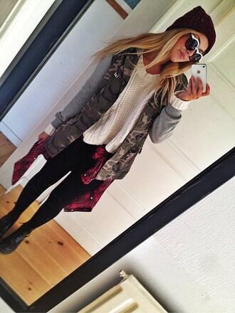jacket boots leggings camouflage sweater beanie sunglasses