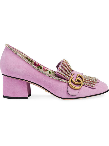 gucci heel women pumps leather suede purple pink shoes