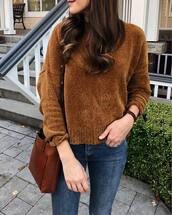 sweater,tumblr,knit,knitted sweater,brown sweater,bag,brown bag,denim,jeans,blue jeans