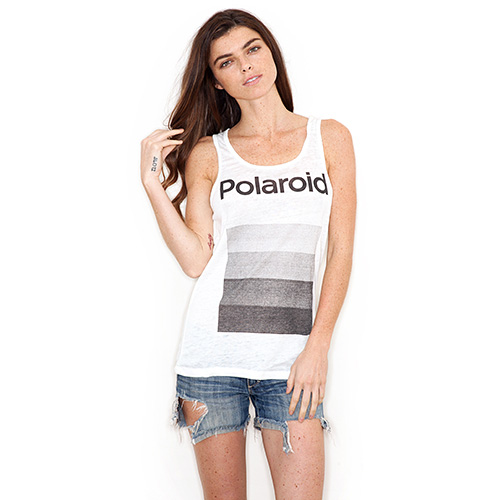 Polaroid women's burnout tank shirt, vintage white, bt654