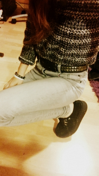 black spikes studs clothes lovely hipster pants t-shirt grunge punk girl pullover soft grunge creepers grey jeans wheretoget? mesh top winter outfits winter sweater feminine