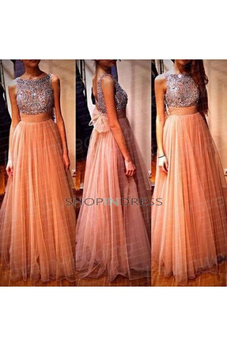Line scoop floor length chiffon blush prom dress with beaded npd098088 sale at shopindress.com