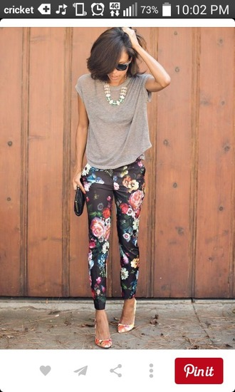 pants floral pants floral pattern black pants