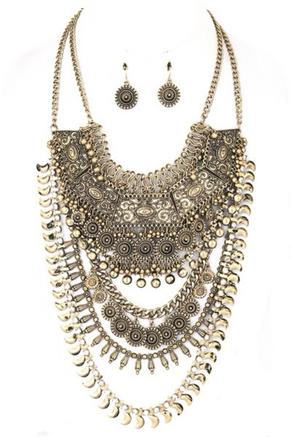 jewels necklace gold earrings fashion fall outfits statement necklace