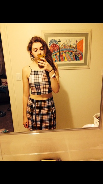 dress clueless plaid two-piece pink crop tops clueless inspired plaid skirt plaid shirt