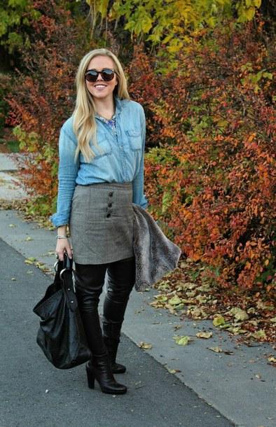 the fashion canvas – a fashion & lifestyle blog blogger shirt skirt shoes jewels sunglasses bag fall outfits denim shirt boots