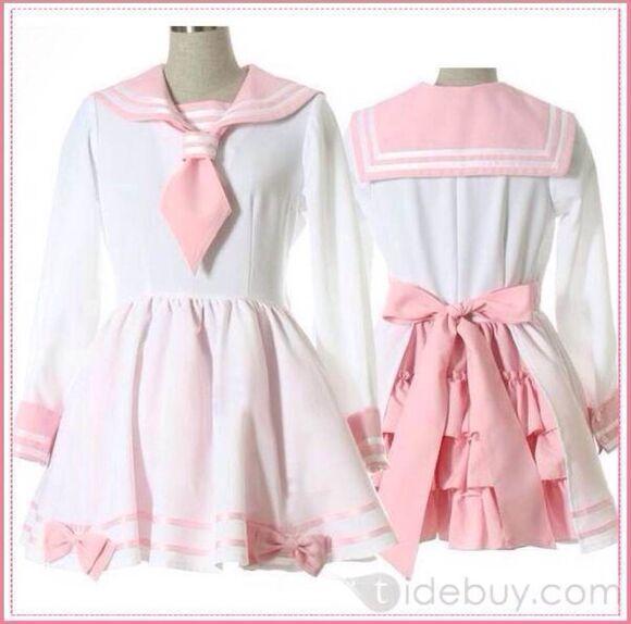 ruffles stripes bows kawaii lolita sweet lolita anime sailor dress