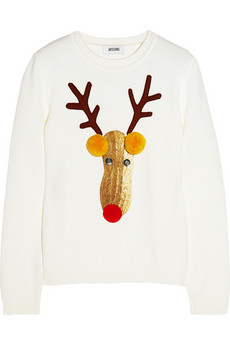 Moschino Reindeer appliquéd wool sweater - 59% Off Now at THE OUTNET