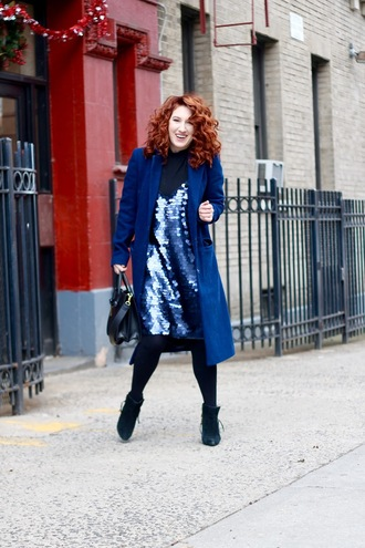 tf diaries blogger dress coat bag shoes winter outfits blue coat ankle boots winter coat