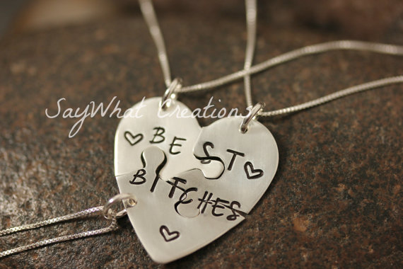 MATURE CONTENT Custom Hand Stamped Necklace Set of THREE Best Bitches Best Friends Necklaces