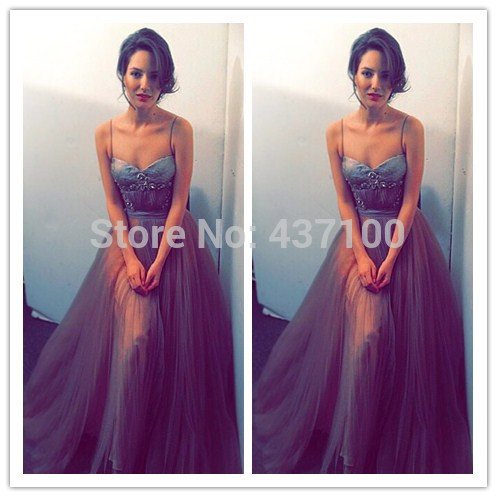 Sexy spaghetti straps sweetheart beading tulle floor length prom dress 2014 elegant long evening party dress vestidos de fiesta