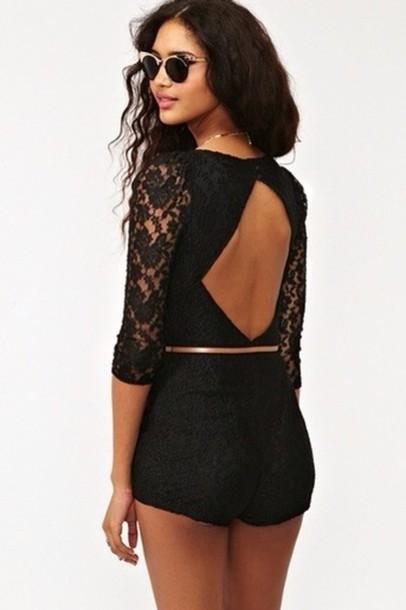 shorts, black lace romper - Wheretoget