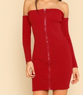 dress,girly,red,red dress,bodycon dress,bodycon,long sleeves,zip,zipper dress,off the shoulder,off the shoulder dress