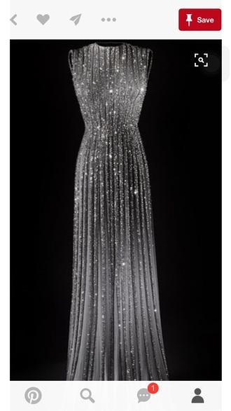 dress silver dress sparkly dress gown prom dress