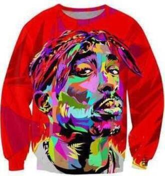 colorful tupac sweatshirt rainbow red sweater