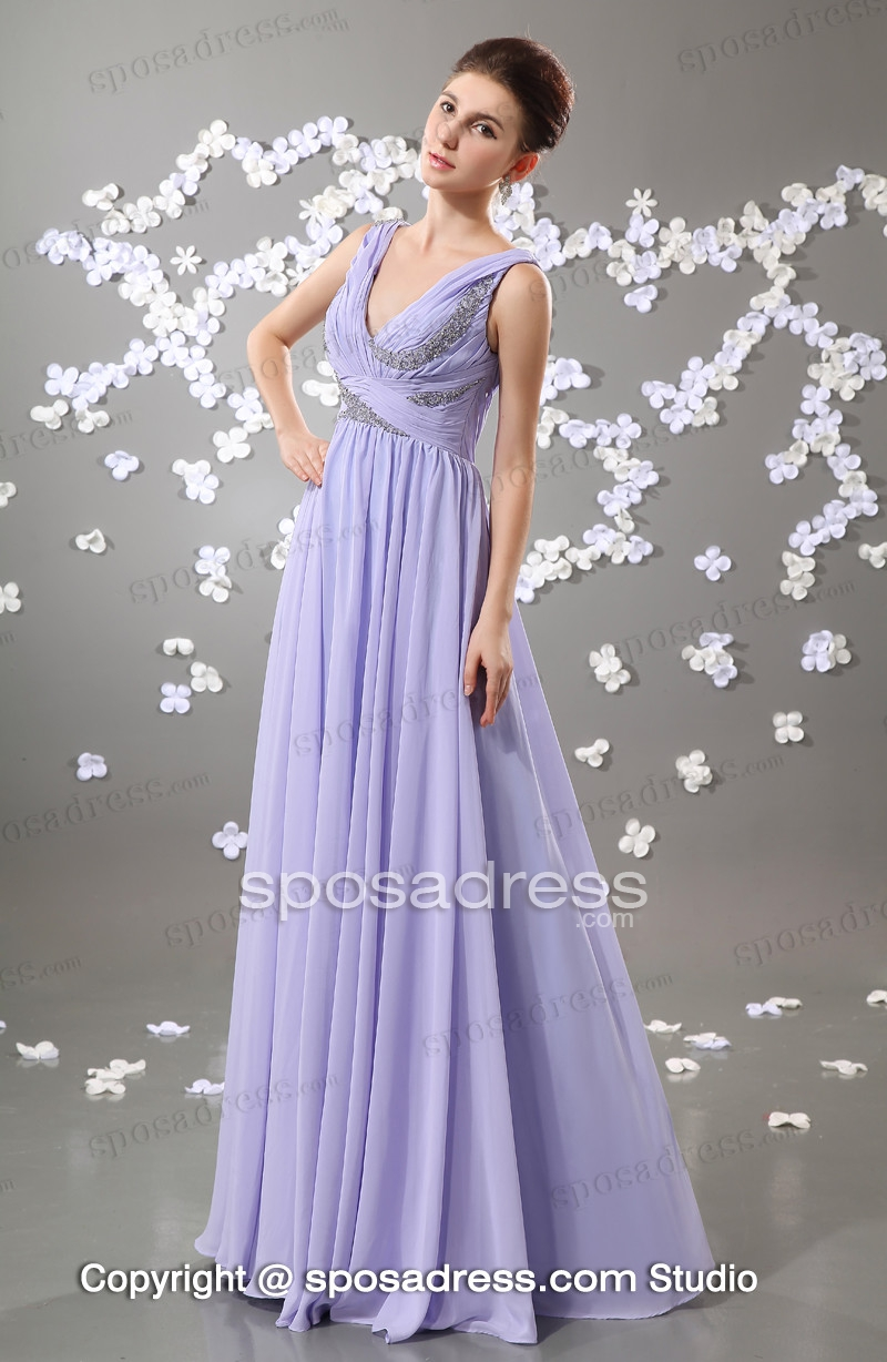 Lavender Sleeveless V Neckline Sequined Chiffon Long Evening Dress 2013 - Sposadress.com
