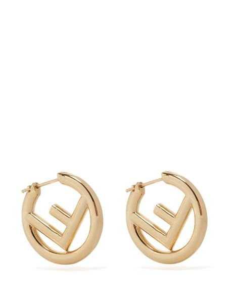 Fendi earrings hoop earrings gold jewels
