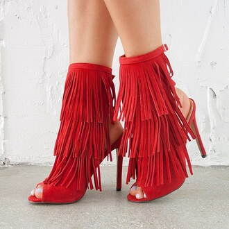 shoes red fringes booties heels suede vegan boho boho chic love gojane