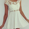 Hollow-out lace neck sleeveless dress|disheefashion