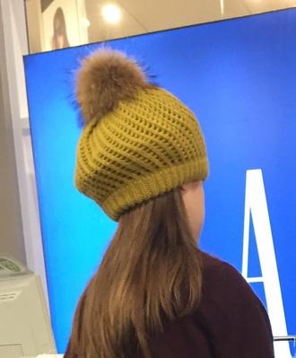 hat yellow hat beanie faux fur yellow beanie