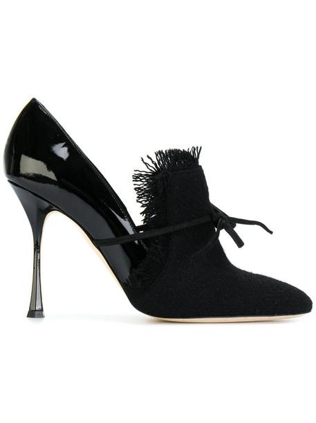women pumps leather black wool shoes
