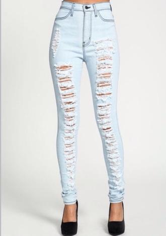 jeans high waisted shredded ripped destroyed denim white light blue blue black