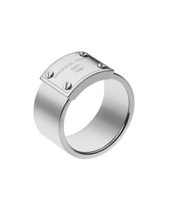 Michael Kors Logo-Plate Ring, Silver Color - Michael Kors