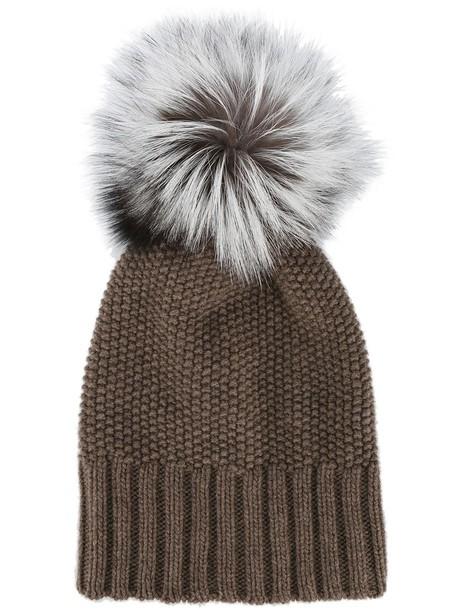 fur fox beanie pom pom beanie brown hat