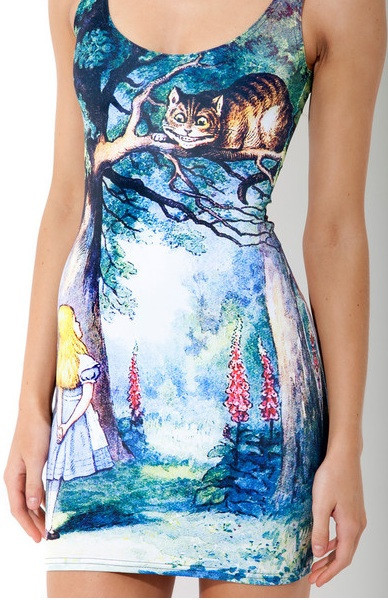Alice in Wonderland Print Bodycon Dress – Glamzelle
