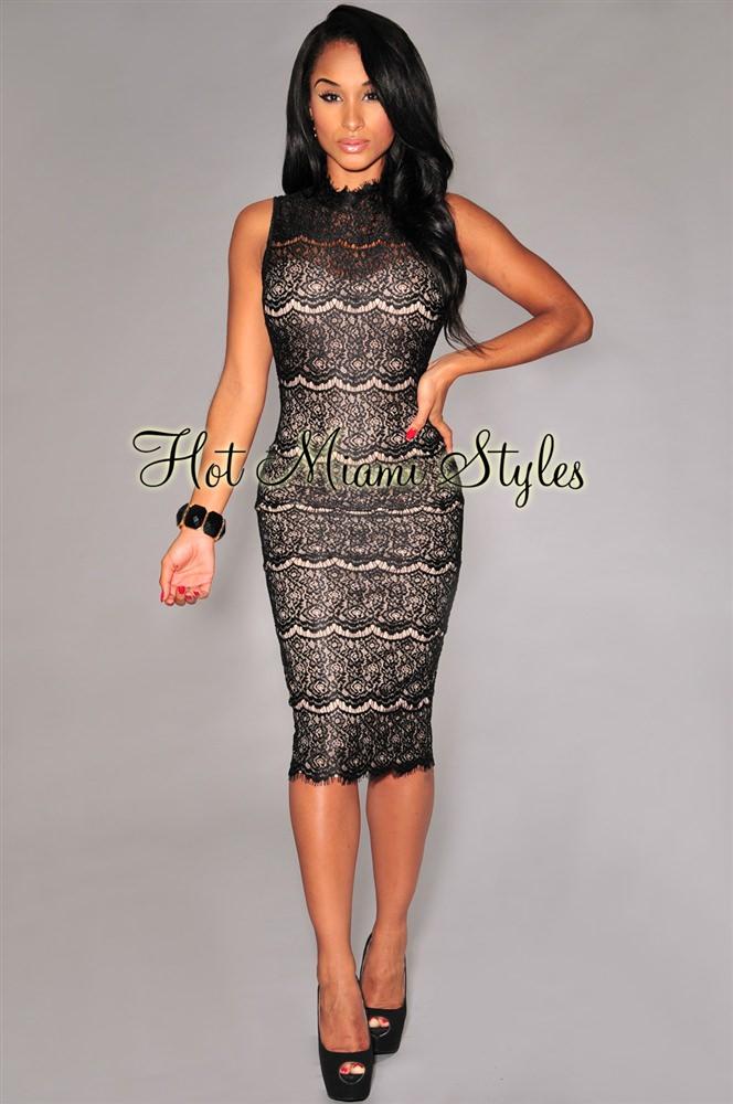 Black Lace Nude Illusion Mock Neck Padded Midi Dress
