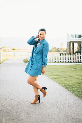 sandy a la mode blogger dress shoes jewels long sleeves denim dress mini dress boots blue dress statement necklace shirt dress long sleeve dress necklace silver necklace brown boots suede boots patch  boots spring outfits plus size plus size dress