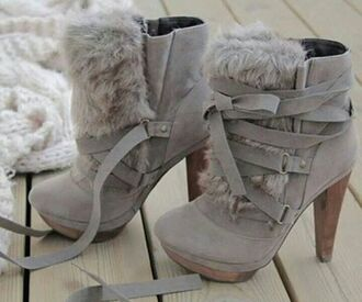 shoes grey shoes heels fur boots fur grey fur grey heels