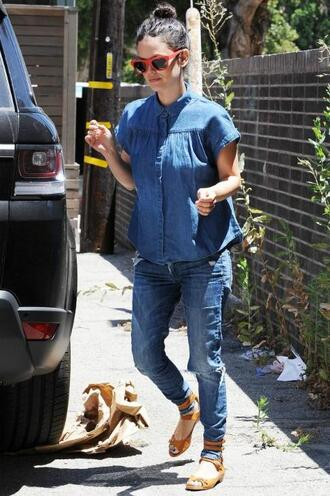 denim shirt rachel bilson jeans sandals flats sunglasses