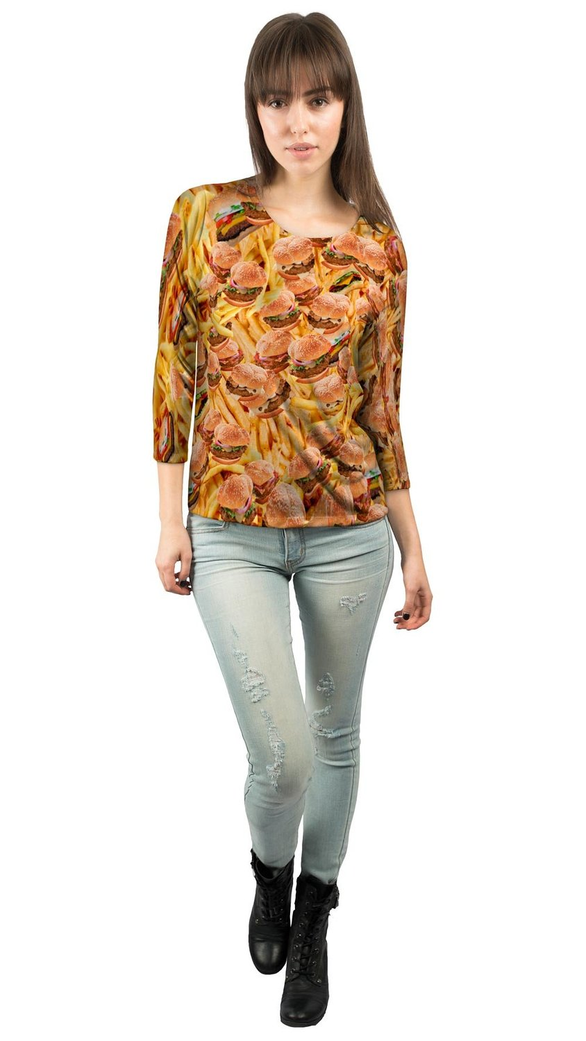 Amazon.com: Yizzam- Hamburgers and Fries- Ladies Womens 3/4 Sleeve: Clothing