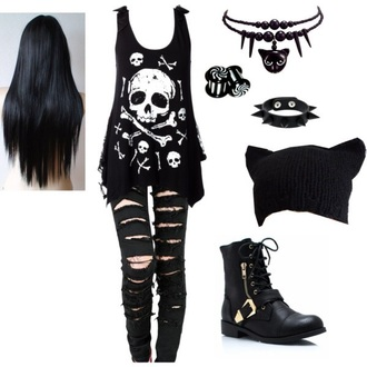 hat black cats pants shoes tank top
