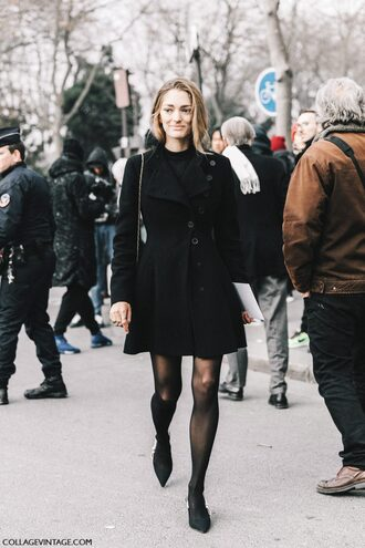 coat tumblr black coat fashion week 2017 streetstyle tights opaque tights pumps pointed toe pumps high heel pumps black heels