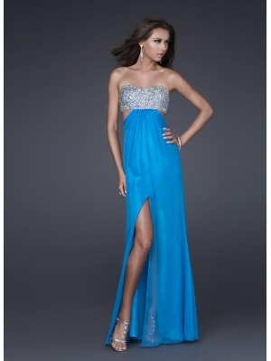 Buy Flattering A-line Strapless Side Split Floor Length Chiffon Evening Dress under 200-SinoAnt.com