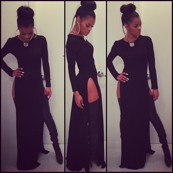 dress slit dress black long heels necklace earrings white nails messy bun gold chain teyana taylor shoes jewels