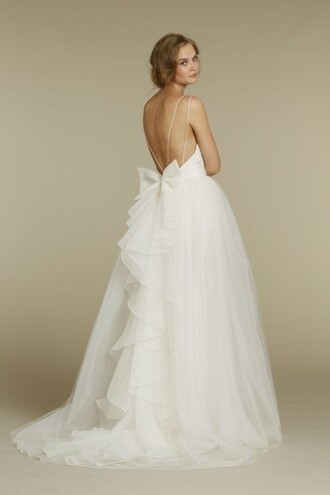 dress backless wedding wedding dress tulle skirt bow hipster wedding