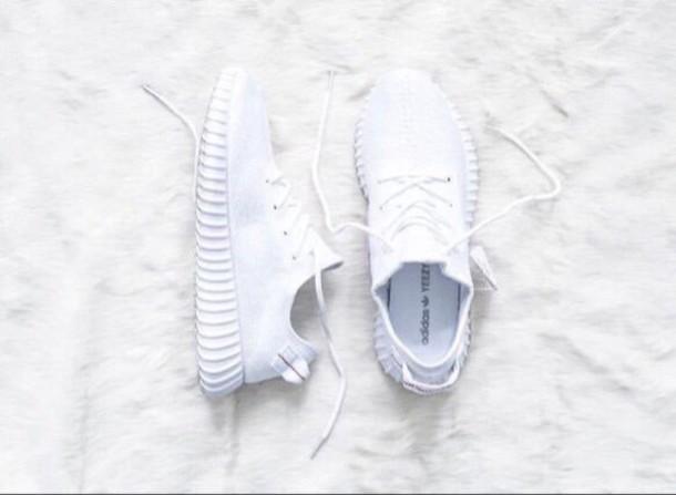 shoes, yeezy, adidas, white - Wheretoget