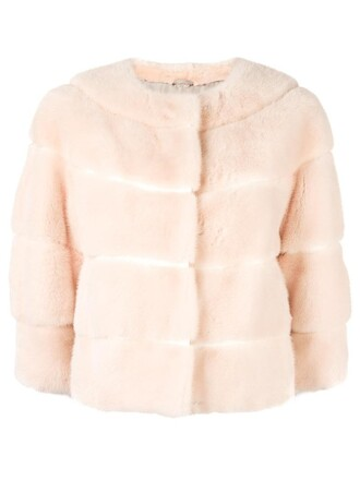 jacket fur women silk purple pink
